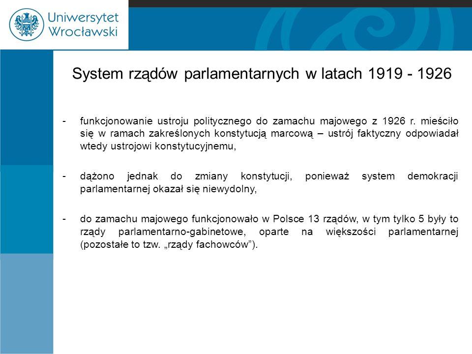 System rządów parlamentarnych w latach 1919 - 1926