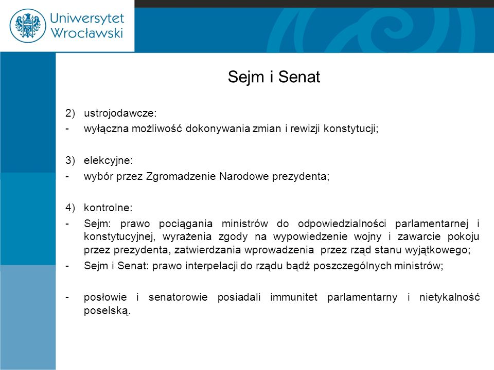 Sejm i Senat 2) ustrojodawcze: