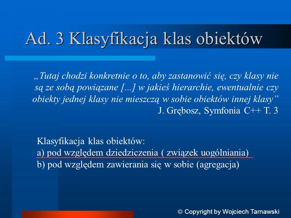 Ad. 3 Klasyfikacja klas obiektów