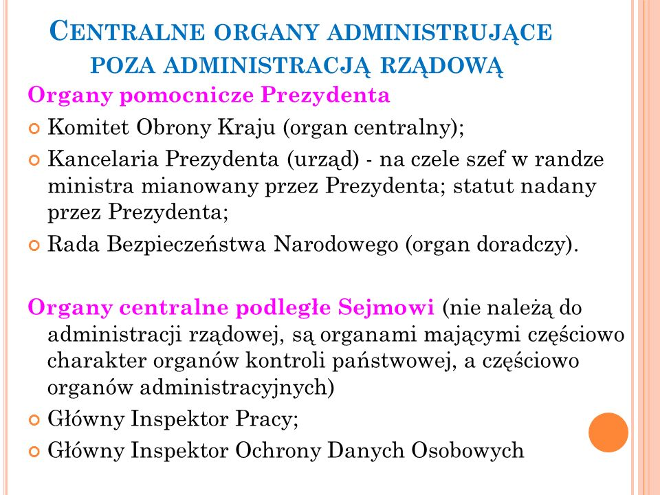 Centralne organy administrujące poza administracją rządową