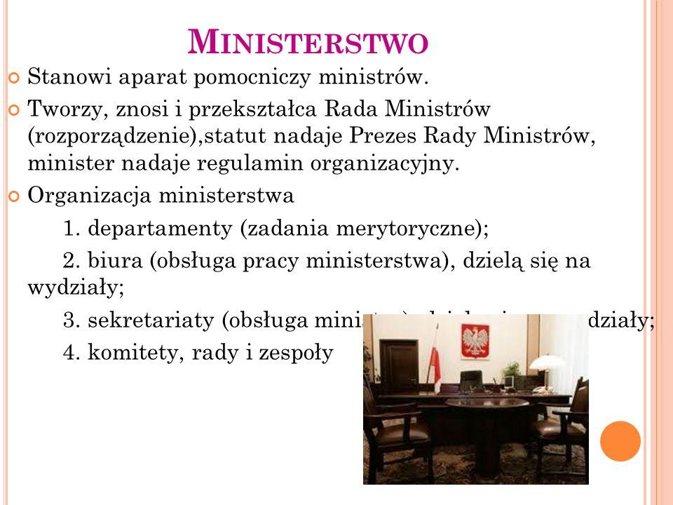 Ministerstwo Stanowi aparat pomocniczy ministrów.