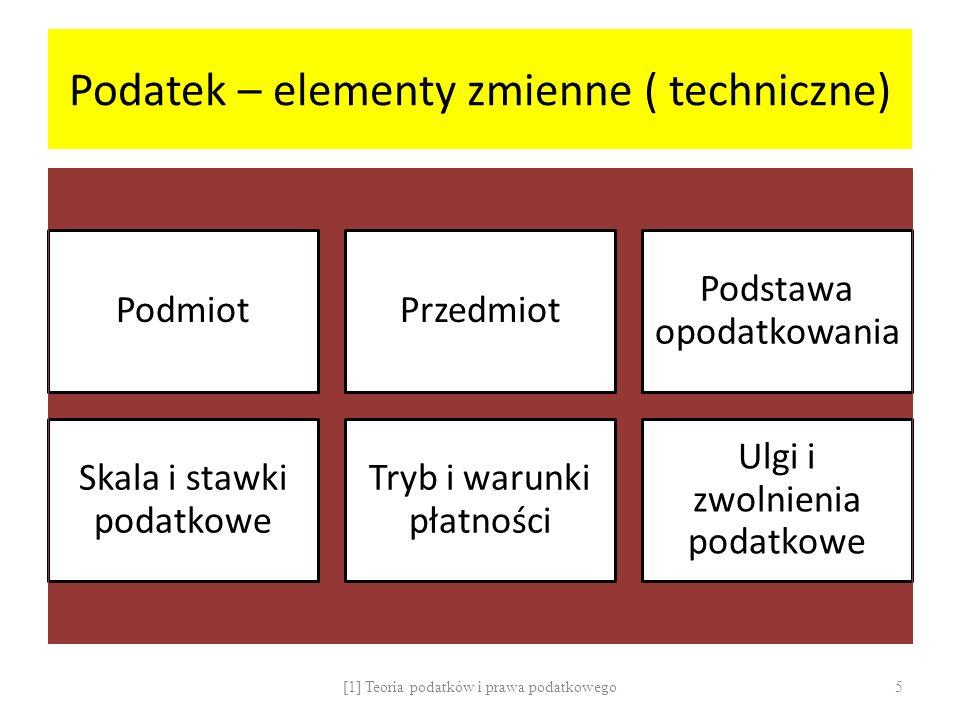 Podatek – elementy zmienne ( techniczne)
