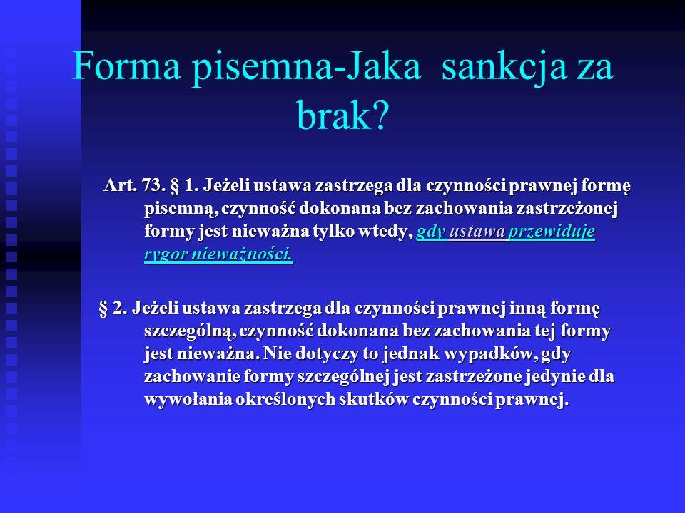 Forma pisemna-Jaka sankcja za brak