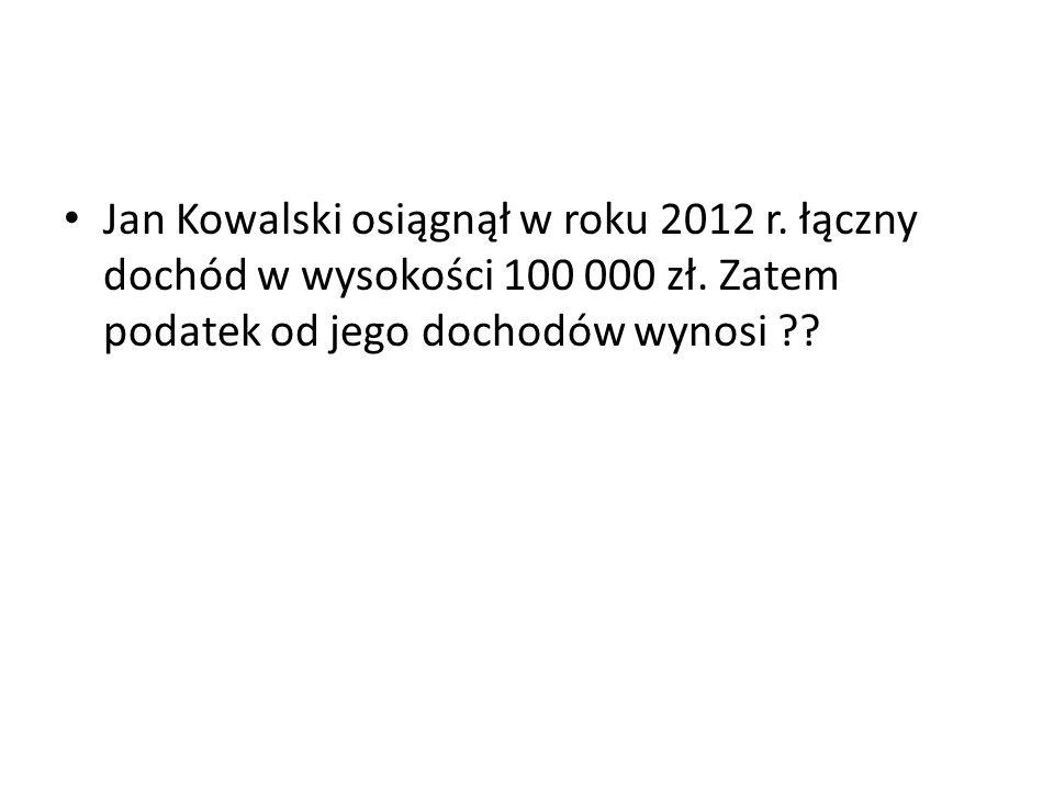 Jan Kowalski osiągnął w roku 2012 r
