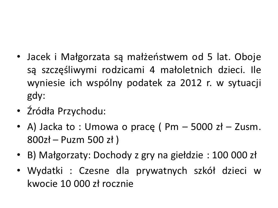 Jacek i Małgorzata są małżeństwem od 5 lat