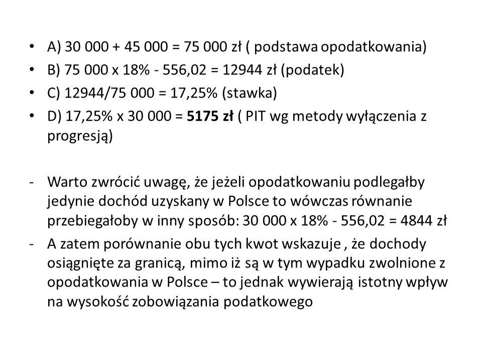 A) 30 000 + 45 000 = 75 000 zł ( podstawa opodatkowania)
