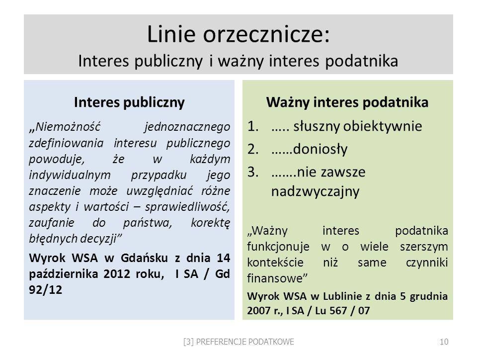 Linie orzecznicze: Interes publiczny i ważny interes podatnika