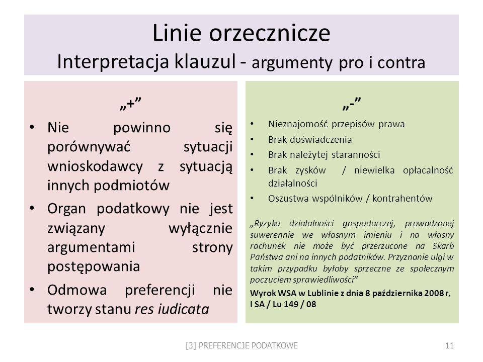 Linie orzecznicze Interpretacja klauzul - argumenty pro i contra