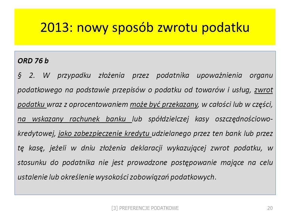 2013: nowy sposób zwrotu podatku