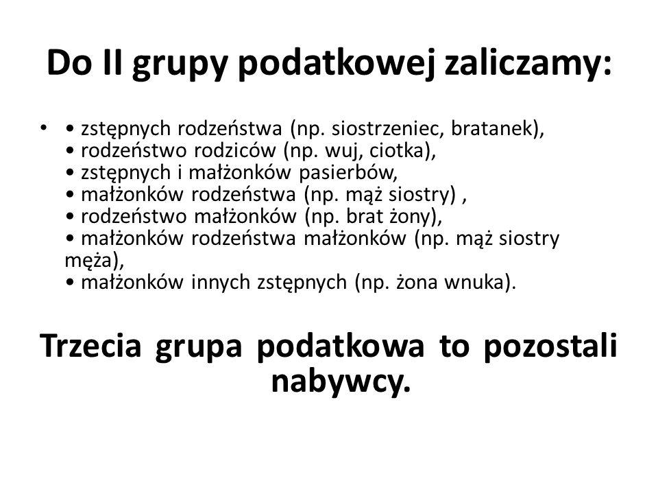 Do II grupy podatkowej zaliczamy: