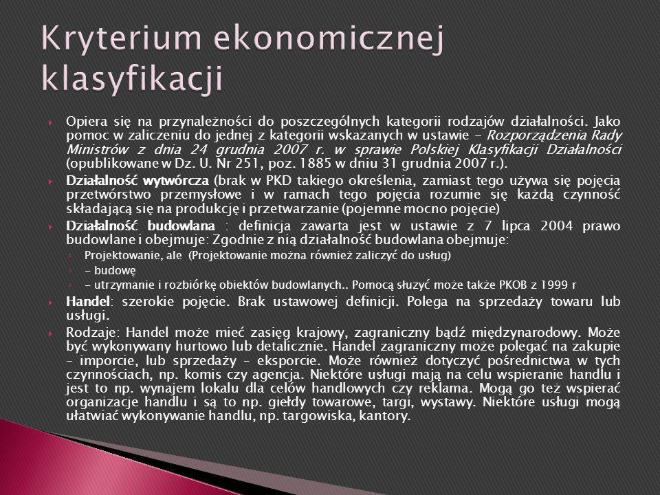 Kryterium ekonomicznej klasyfikacji