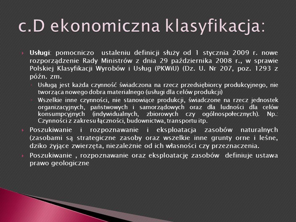 c.D ekonomiczna klasyfikacja: