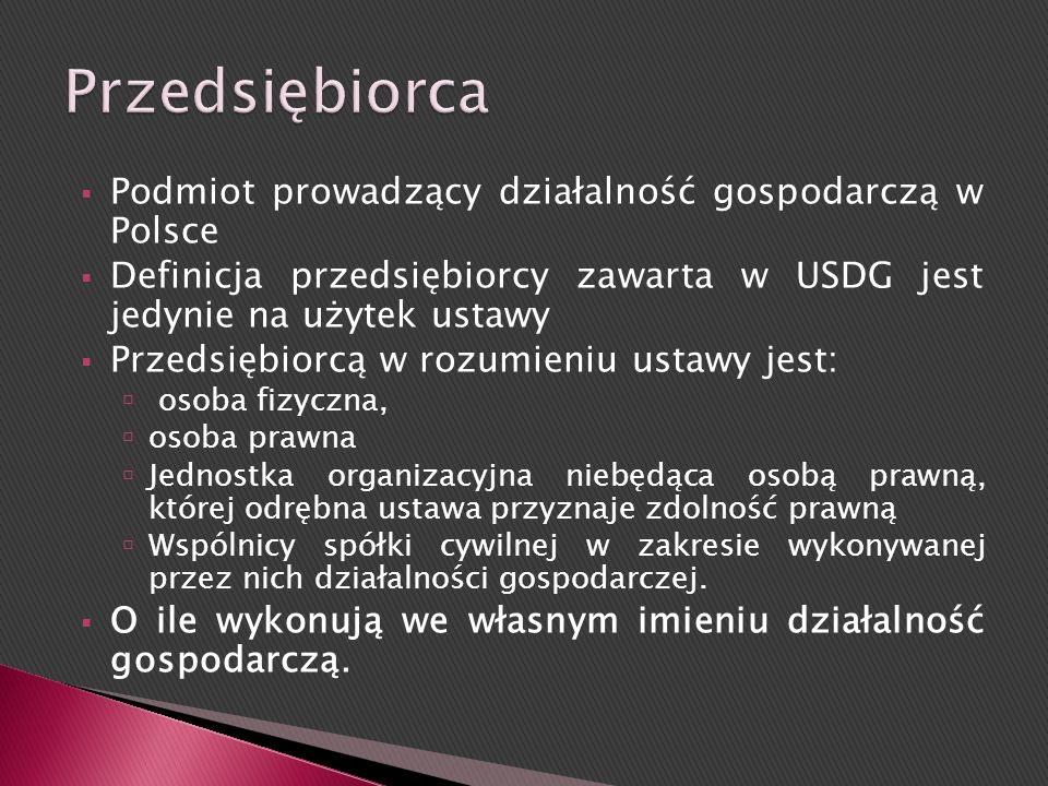 Przedsiębiorca Podmiot prowadzący działalność gospodarczą w Polsce