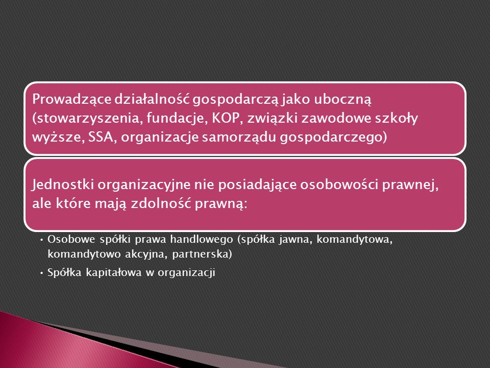 Prowadzące działalność gospodarczą jako uboczną (stowarzyszenia, fundacje, KOP, związki zawodowe szkoły wyższe, SSA, organizacje samorządu gospodarczego)
