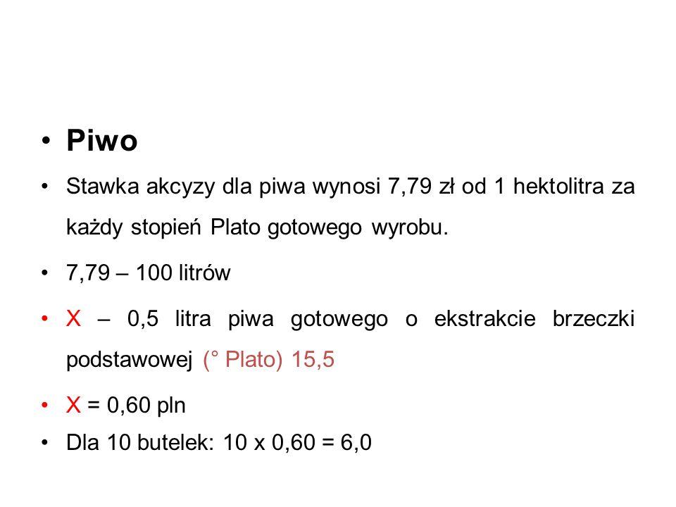 Piwo Stawka akcyzy dla piwa wynosi 7,79 zł od 1 hektolitra za każdy stopień Plato gotowego wyrobu. 7,79 – 100 litrów.