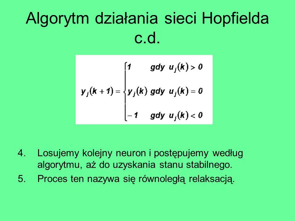 Algorytm działania sieci Hopfielda c.d.