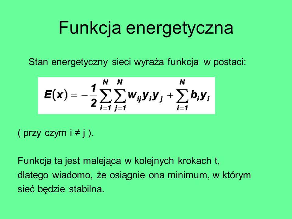 Funkcja energetyczna Stan energetyczny sieci wyraża funkcja w postaci: