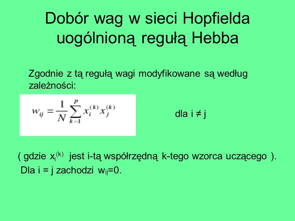 Dobór wag w sieci Hopfielda uogólnioną regułą Hebba
