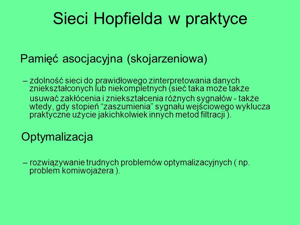 Sieci Hopfielda w praktyce