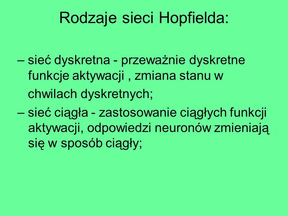 Rodzaje sieci Hopfielda: