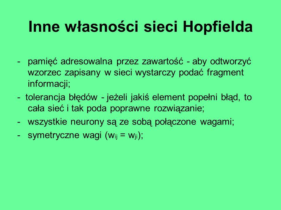 Inne własności sieci Hopfielda