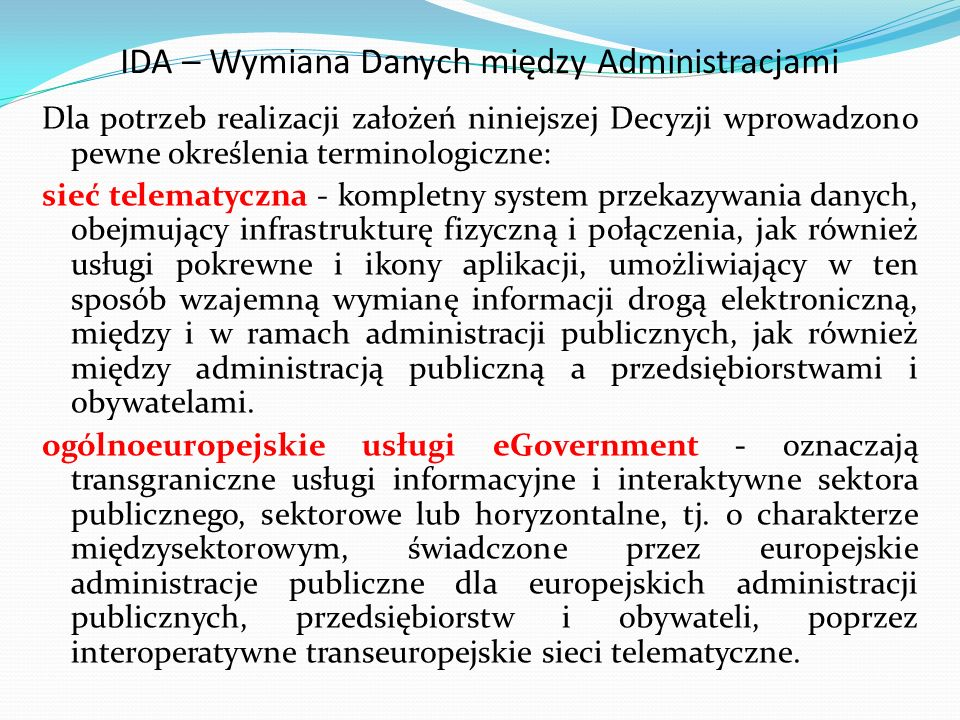 IDA – Wymiana Danych między Administracjami