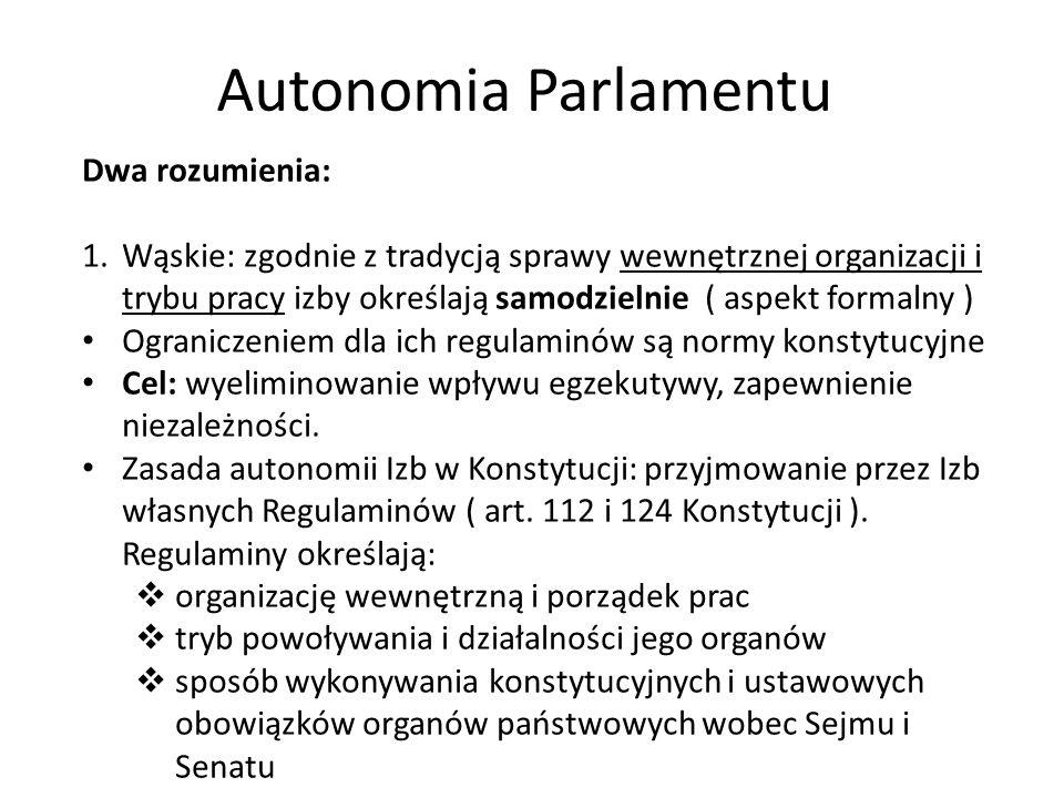 Autonomia Parlamentu Dwa rozumienia: