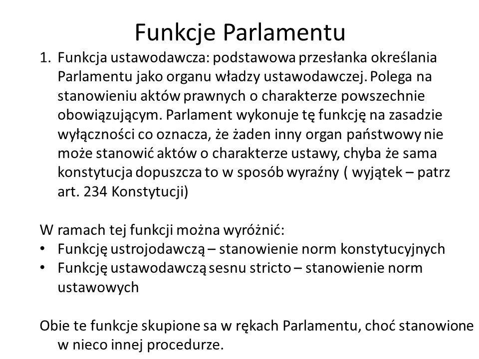Funkcje Parlamentu
