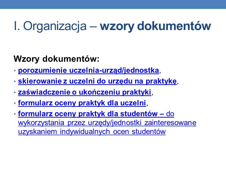 I. Organizacja – wzory dokumentów