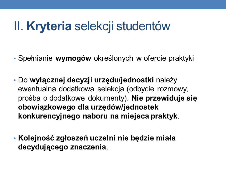 II. Kryteria selekcji studentów