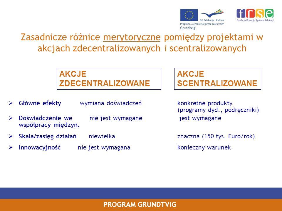 Zasadnicze różnice merytoryczne pomiędzy projektami w akcjach zdecentralizowanych i scentralizowanych