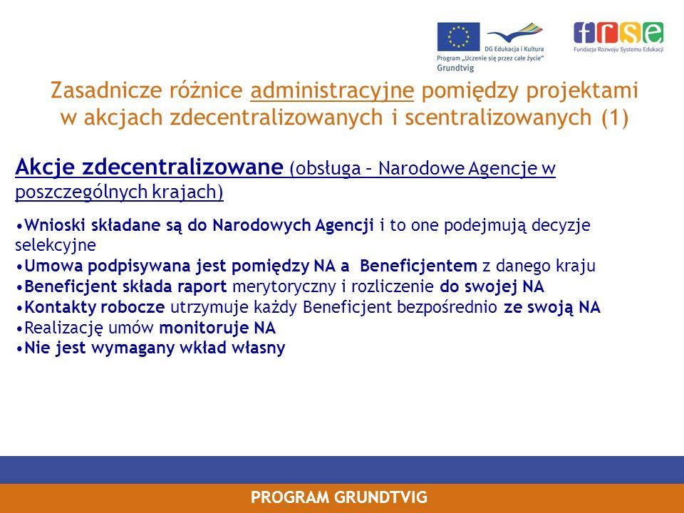 Zasadnicze różnice administracyjne pomiędzy projektami w akcjach zdecentralizowanych i scentralizowanych (1)