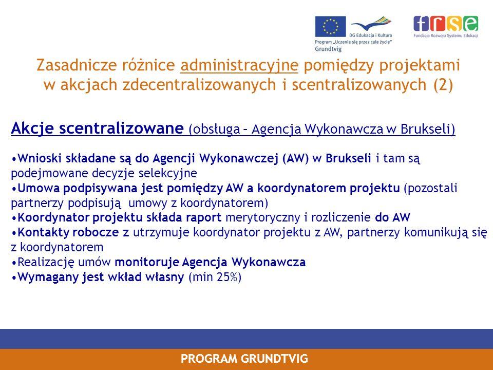 Akcje scentralizowane (obsługa – Agencja Wykonawcza w Brukseli)