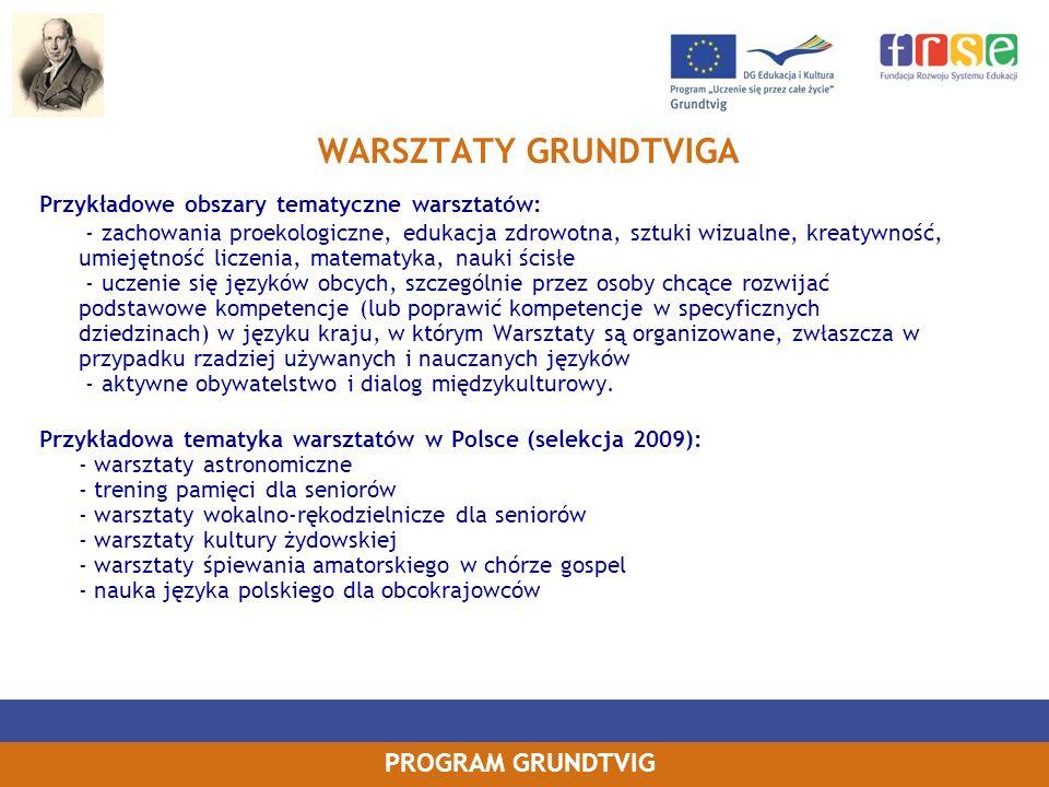 WARSZTATY GRUNDTVIGA Przykładowe obszary tematyczne warsztatów: