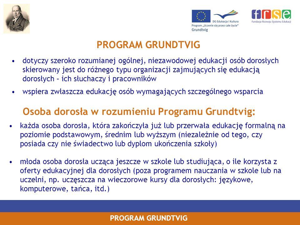 Osoba dorosła w rozumieniu Programu Grundtvig: