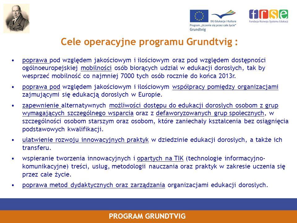 Cele operacyjne programu Grundtvig :