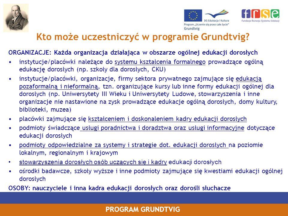 Kto może uczestniczyć w programie Grundtvig