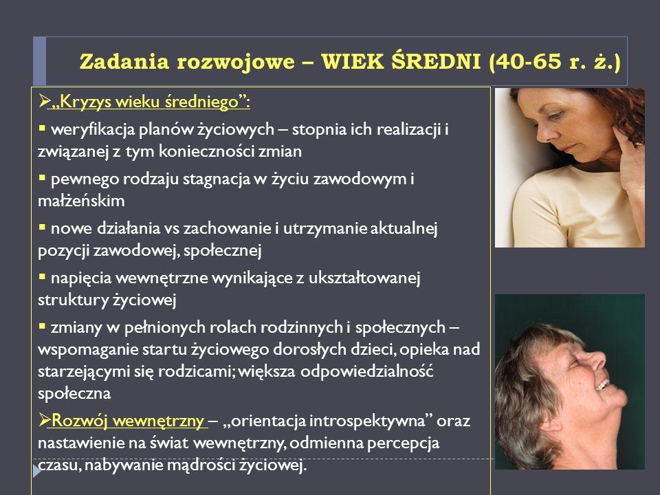Zadania rozwojowe – WIEK ŚREDNI (40-65 r. ż.)