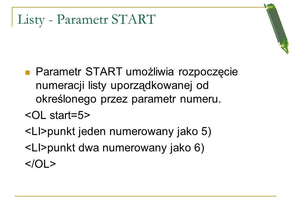 Listy - Parametr START Parametr START umożliwia rozpoczęcie numeracji listy uporządkowanej od określonego przez parametr numeru.