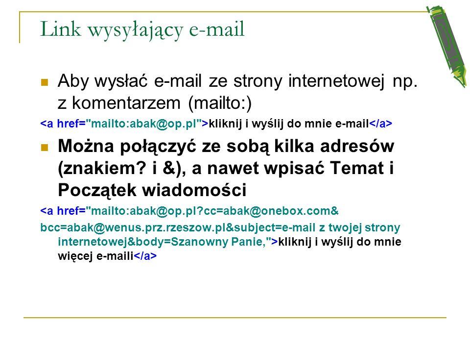 Link wysyłający e-mail