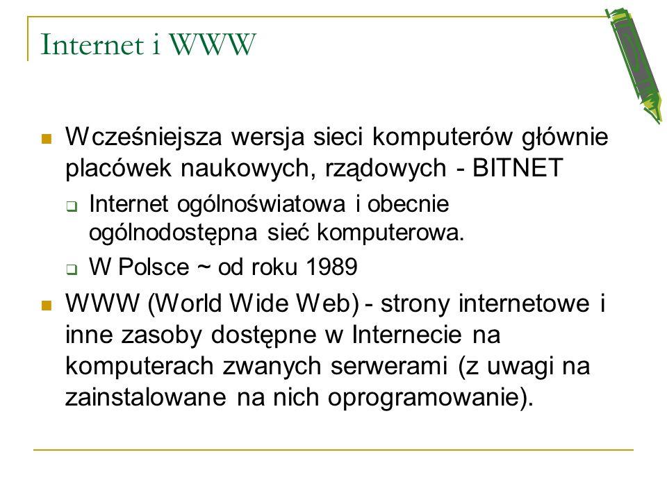 Internet i WWW Wcześniejsza wersja sieci komputerów głównie placówek naukowych, rządowych - BITNET.