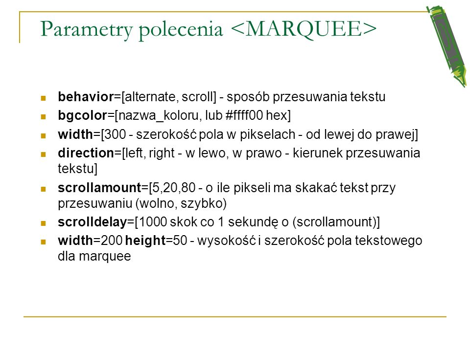 Parametry polecenia <MARQUEE>