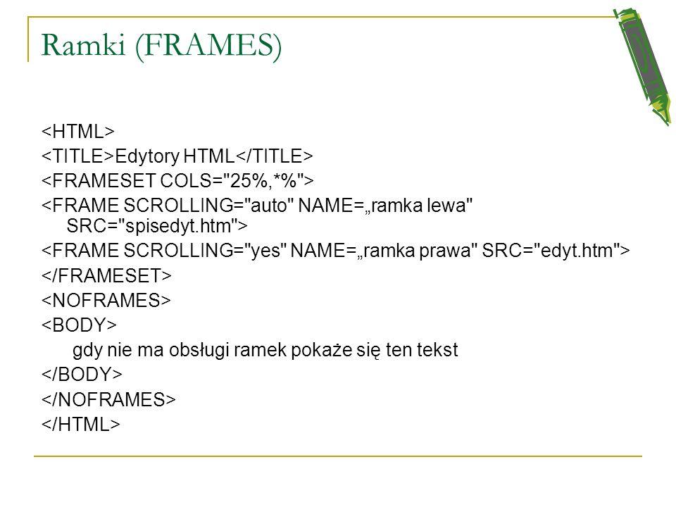 Ramki (FRAMES) <HTML> <TITLE>Edytory HTML</TITLE>
