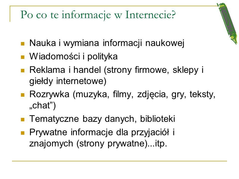 Po co te informacje w Internecie