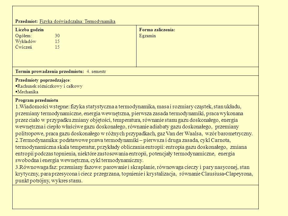 Przedmiot: Fizyka doświadczalna: Termodynamika