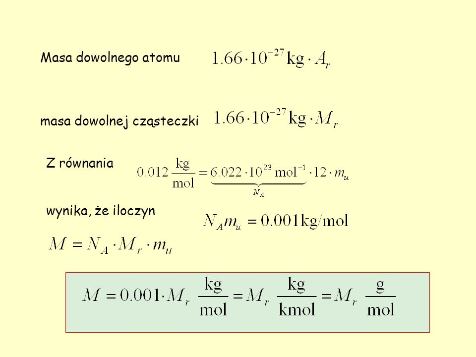 Masa dowolnego atomu masa dowolnej cząsteczki Z równania wynika, że iloczyn
