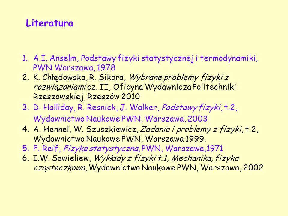 Literatura A.I. Anselm, Podstawy fizyki statystycznej i termodynamiki, PWN Warszawa, 1978.