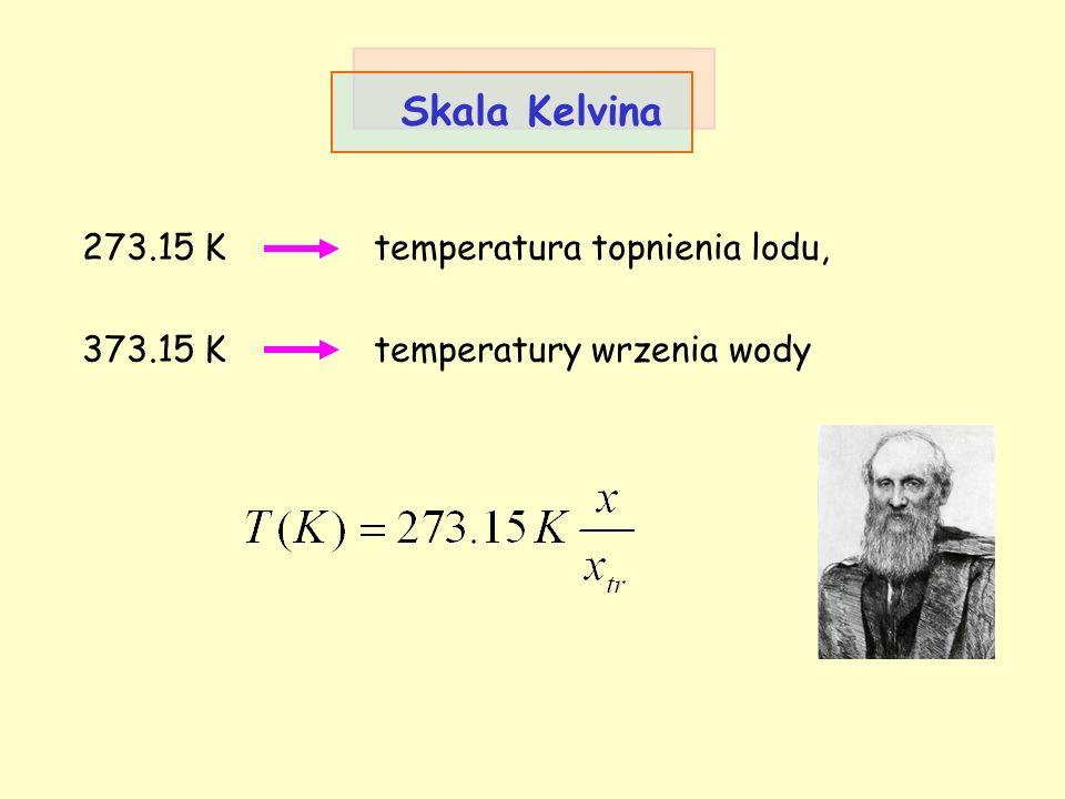Skala Kelvina 273.15 K temperatura topnienia lodu,