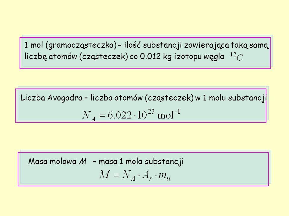 1 mol (gramocząsteczka) – ilość substancji zawierająca taką samą liczbę atomów (cząsteczek) co 0.012 kg izotopu węgla