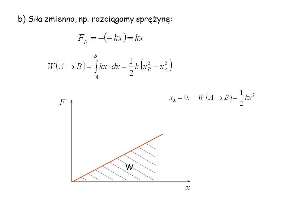 b) Siła zmienna, np. rozciągamy sprężynę: